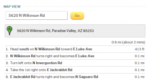 idx listing with driving directions