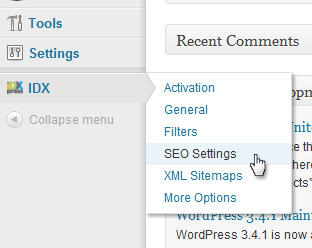 IDX plugin SEO settings