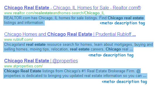 meta descriptions for IDX and listing pages