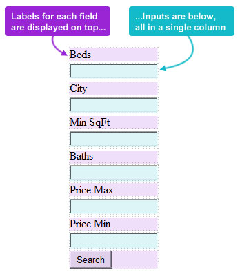 IDX search with single column layout