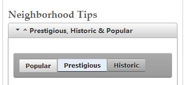 tabs for neighborhood types