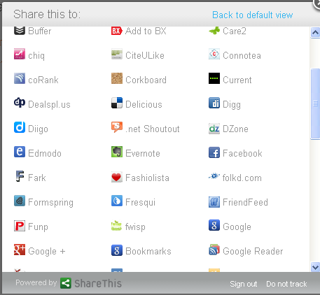 social share choices