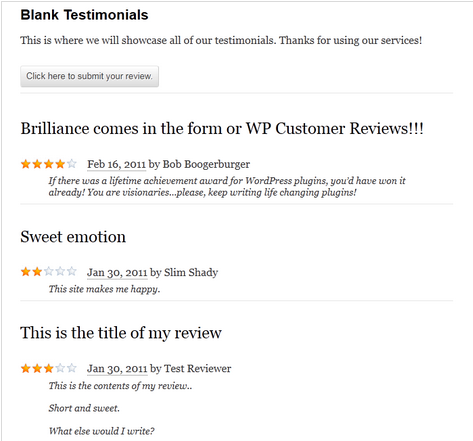 WordPress blank testimonial