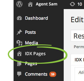 IDX Pages section of the WordPress admin