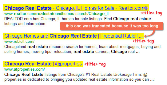 title tags in search engine results