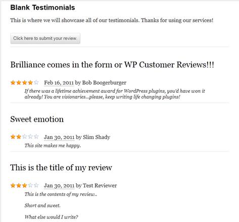 WordPress blank testimonial